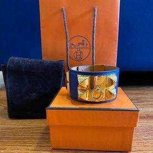 Hermes Collier De Chien Bracelet CDC Blue small